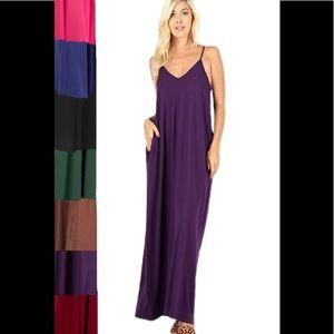 Plus Size Camisol Maxi Dress w/ Adjustable Straps